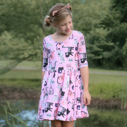 Be Girl Clothing     Playtime Favorites Henley Twirler Dress - Cat Fancy
