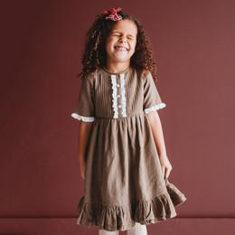 Ren & Rouge Front Ruffle Tiered S/S Dress