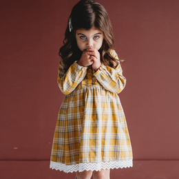 Ren & Rouge Plaid Ruffle Dress w/Lace Hem