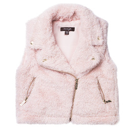 Imoga  Emerson Metallic Faux Fur Vest - Powder