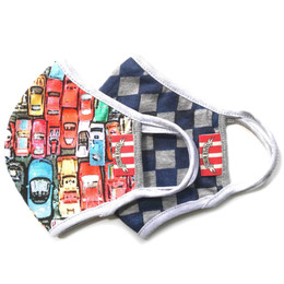 Paper Wings                Double Layer Organic Cotton Jersey Face Masks - 2 Pack! - Matchbox Cars & Blue Checkered - Kids (2-7 Years)
