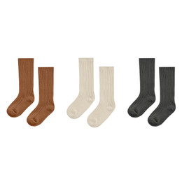 Rylee & Cru   Enchanted Forest Rib Knee Socks Set - 3 pairs - Cinnamon / Natural / Vintage Black (Drop 1)