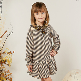 Rylee & Cru   Enchanted Forest Swing Dress - Oat & Black Stripe (Drop 1)