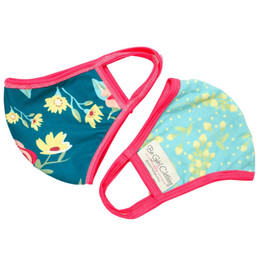 Be Girl Clothing      Double Layer Reversible Face Mask - Teal Floral & Blue Floral w/Hot Pink Binding