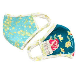 Be Girl Clothing      Double Layer Reversible Face Mask - Teal Floral & Blue Floral w/Floral Binding
