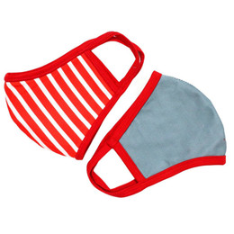 Be Girl Clothing      Double Layer Reversible Face Mask - Red Stripe & Blue Solid