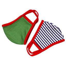 Be Girl Clothing      Double Layer Reversible Face Mask - Navy Stripe & Green Solid