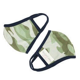 Be Girl Clothing      Double Layer Reversible Face Mask - Green Camo w/Navy Binding (Girl)