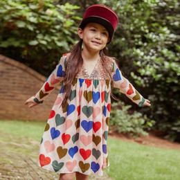 Pink Chicken   Courtney Dress - Strawberry Cream Multi Hearts