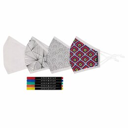 Andy & Evan 3 Layer Cotton Face Masks w/Filter Pockets - 4 PACK! - Unisex Adult Mix 5 (Adult) - COLOR IN w/markers included!