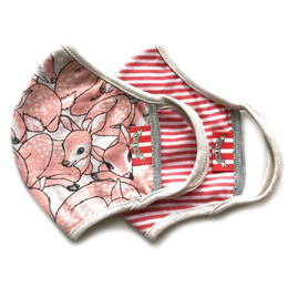 Paper Wings                   Double Layer Organic Cotton Jersey Face Masks - 2 Pack! - Pink Fawns & Red Stripe - Tweens / Adults (8 years & up)