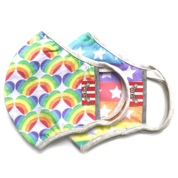 Paper Wings                   Double Layer Organic Cotton Jersey Face Masks - 2 Pack! - Rainbow Hearts & Stars and Stripes - Tweens / Adults (8 years & up)