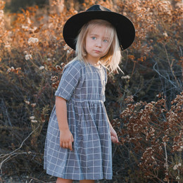 Rylee & Cru     Enchanted Forest Kat Dress - Wavy Check - Washed Indigo (Drop 2)