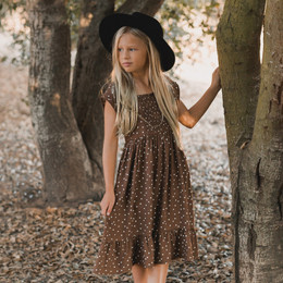 Rylee & Cru     Enchanted Forest Madeline Dress - Dot - Wine (Drop 2)