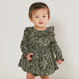 Rylee & Cru     Enchanted Forest Ruffle Collar Baby Dress - Vines - Forest (Drop 2)