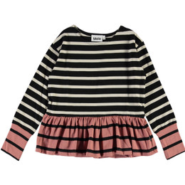 Molo   Rassi Organic Top - Black Stripe