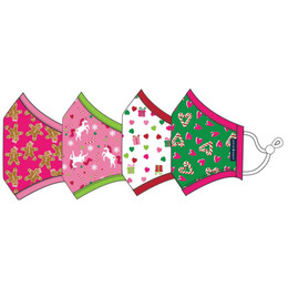 Andy & Evan 3 Layer Cotton Holiday Face Masks w/Filter Pockets - 4 PACK! - Girl Child Mix 1 (2-6 Years)