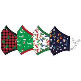 Andy & Evan 3 Layer Cotton Holiday Face Masks w/Filter Pockets - 4 PACK! - Boy Child Mix 2 (2-6 Years)