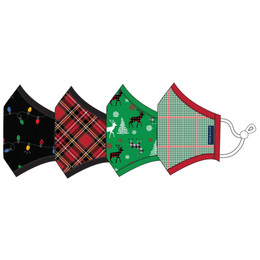 Andy & Evan  3 Layer Cotton Holiday Face Masks w/Filter Pockets - 4 PACK! - Unisex Adult Mix 2 (Adult)
