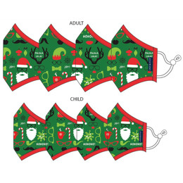 Andy & Evan  3 Layer Cotton Holiday Face Masks w/Filter Pockets - 8 PACK! - Matching Family 2 (4 Adult & 4 Child)