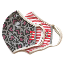 Paper Wings                   Double Layer Organic Cotton Jersey Face Masks - 2 Pack! - Leopard Pink Hearts & Light Red Stripe - Tweens / Adults (8 years & up)