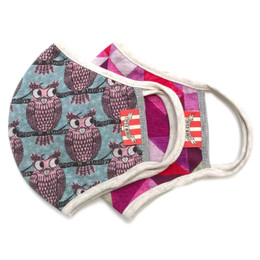 Paper Wings                   Double Layer Organic Cotton Jersey Face Masks - 2 Pack! - Owls & Pink Triangles - Tweens / Adults (8 years & up)