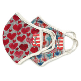 Paper Wings                   Double Layer Organic Cotton Jersey Face Masks - 2 Pack! - Red Hearts & Heart Stripes - Kids (2-7 Years)