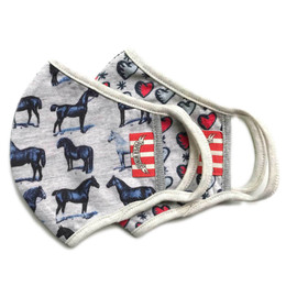 Paper Wings   Double Layer Organic Cotton Jersey Face Masks - 2 Pack Set! - Horses & Tattoo Hearts - Kids (2-7 Years)