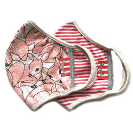 Paper Wings   Double Layer Organic Cotton Jersey Face Masks - 2 Pack Set! - Pink Fawns & Red Stripe - Tweens / Adults (8 years & up)