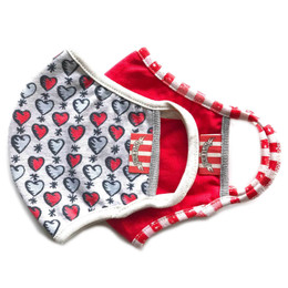 Paper Wings   Double Layer Organic Cotton Jersey Face Masks - 2 Pack Set! - Tattoo Hearts & Red - Tweens / Adults (8 years & up)