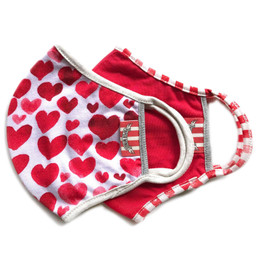 Paper Wings   Double Layer Organic Cotton Jersey Face Masks - 2 Pack Set! - Hearts & Red - Tweens / Adults (8 years & up)