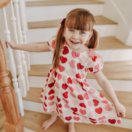 Pink Chicken   Valentine Erin Dress - Scalloped Hearts