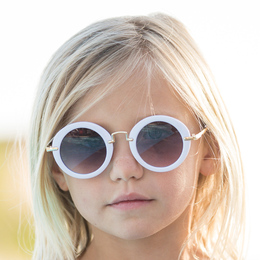 Blueberry Bay Round Sunnies Sunglasses - White