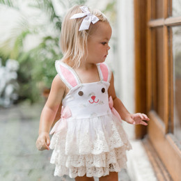 Be Girl Clothing        Bunny Winks Valentina Bunny Skirted Romper