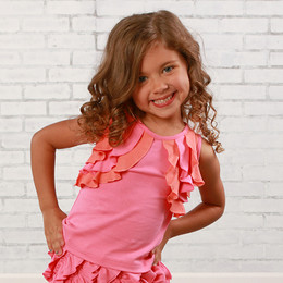 Lemon Loves Lime  Ruffle Shrug Tank - Pink Lemonade / Fusion Coral