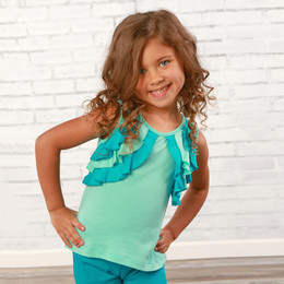 Lemon Loves Lime  Ruffle Shrug Tank - Aruba Blue / Scuba Blue