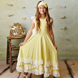 Serendipity Clothing  Lemon Bloom 3pc Lemon Twirl Maxi Dress w/Eyelet Rosette Clip & Headband