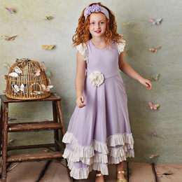Serendipity Clothing  Lemon Bloom 3pc Lavender Twirl Maxi Dress w/Eyelet Rosette Clip & Headband