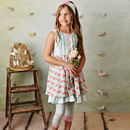 Serendipity Clothing  French Rose 3pc Dress, Capri Legging, & Headband