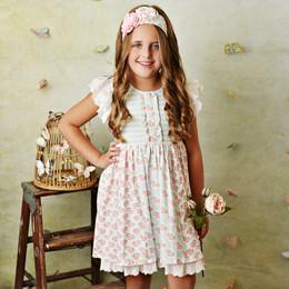 Serendipity Clothing  Pink Rose 3pc Dress, Stripe Shortie, & Headband