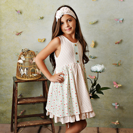 Serendipity Clothing  Sweet Pea 3pc Panel Dress, Floral Shortie, & Headband