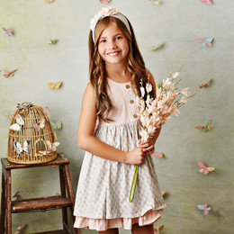 Serendipity Clothing  Sweet Pea 3pc Dress, Geo Floral Shortie, & Headband