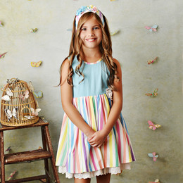 Serendipity Clothing  Over The Rainbow 3pc Dress, Shortie, & Headband