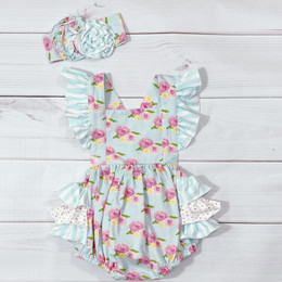 Serendipity Clothing  French Rose 2pc Bubble Romper & Headband