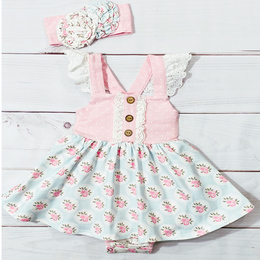 Serendipity Clothing  Pink Rose 2pc Bubble Dress & Headband