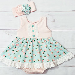 Serendipity Clothing  Blush Petal 2pc Bubble Dress & Headband