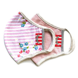 Paper Wings   Double Layer Organic Cotton Jersey Face Masks - 2 Pack Set! - Tiny Flower Stripe & Red Spots - Kids (2-7 Years)