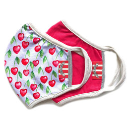 Paper Wings   Double Layer Organic Cotton Jersey Face Masks - 2 Pack Set! - Cherry Hearts & Red - Tweens / Adults (8 years & up)