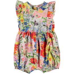 Molo     Felicia Floral Print Organic Bubble Romper - Hide and Seek