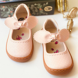 Livie & Luca   Knotty Shoes - Powder Pink Polka Dot (Spring 2021)
